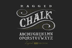 Vector chalk typefaces collection