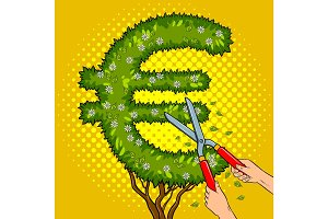 Bush in the form of euro sign pop art vector