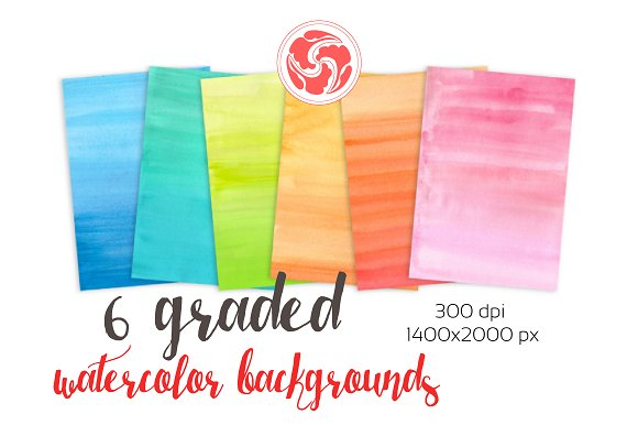 6 Gradient Watercolor Backgrounds