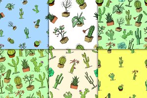 home cactus plants with prickles and nature elements in pots and flowers. exotic or tropical. various succulents, seamless pattern. engraved in ink hand drawn in old sketch and vintage style.