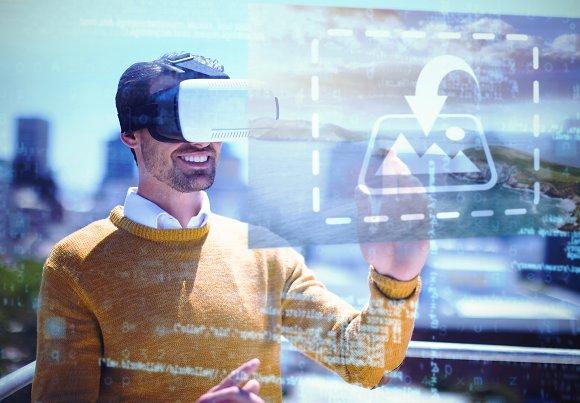 Man Using VR Headset Outdoor Mockup