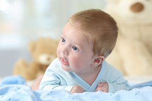 Portrait of a baby looking at side