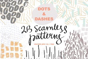 Dots & dashes. 23 seamless patterns