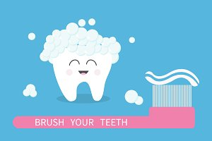 Tooth icon. Brush your teeth.
