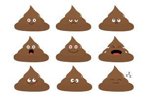 Cute poop emoji set.
