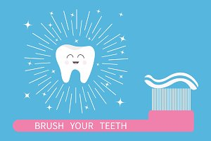 Brush your teeth. Tooth brush paste