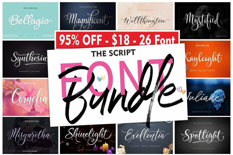 323695c3018 The Script FONT BUNDLE - 95% OFF ~ Script Fonts ~ Creative Market