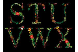 Cute vintage hand drawn rustic floral Christmas alphabet