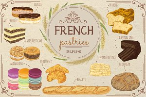 French pastries vector set