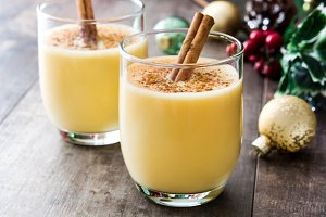 Homemade eggnog with cinnamon