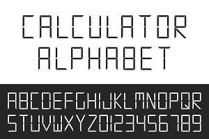Digital english alphabet&numerals