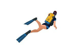 Scuba diver diving man back view. Scuba diving flat 3d isometric