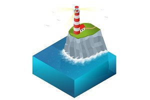 Lighthouse vector isometric illustration. Searchlight towers for
