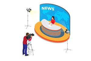 Breaking news reportage and press conference. Journalist interview an analyst. Flat 3d vector isometric illustration.