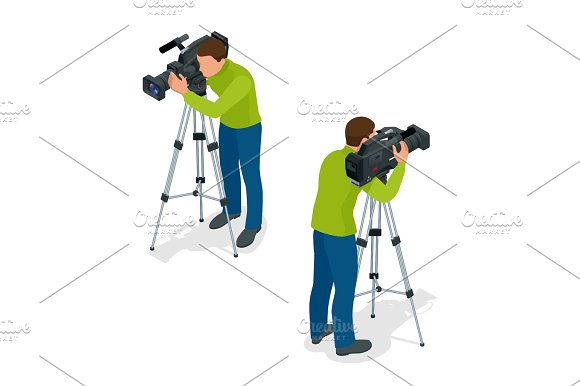 Video camera operator working with his professional equipment is
