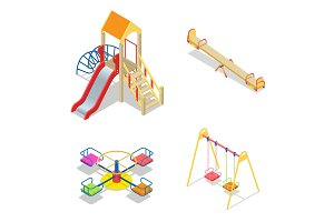 Playground. Playground slide theme elements. Isometric kids play