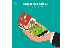 Real estate Online for buying or for rent. Man working with smar
