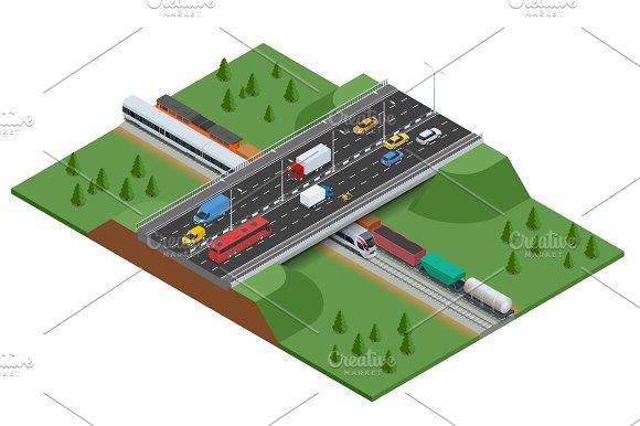 Railroad and bridge with traffic