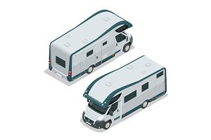 Recreational vehicles for family tourism and vacation. Flat 3d vector isometric illustration