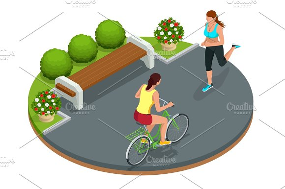 Biker in park, woman running Cycling on bike path. Weekend excur in Illustrations