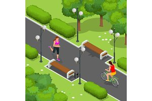Biker in park, woman running Cycling on bike path. Weekend excursion on their bikes on summer day. Flat 3d vector isometric illustration. People riding bikes. Bikers and bicycling. Sport and exercise.