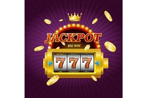 Casino Jackpot Concept Card. Vector