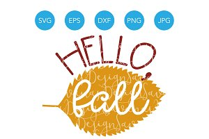 Hello Fall Cut Files and Clipart