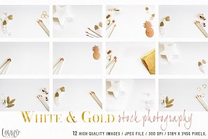 Bundle Mockup Stationery White Gold