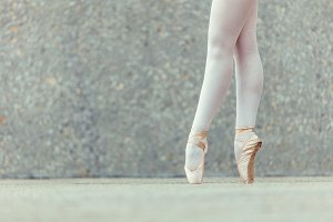 Detail shot of ballet dancer feet