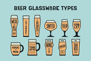 Poster beer glassware types