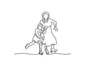 Hand line drawing of roller skates