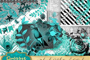 Black, White and Teal Graphics