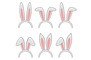 Easter Rabbit Ears Masks Set