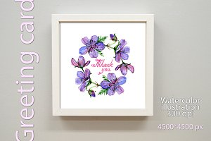 Watercolor Thank you greeting card