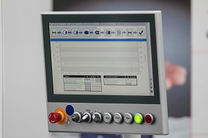 Industrial manage panel with lcd screen on plant of plastic products