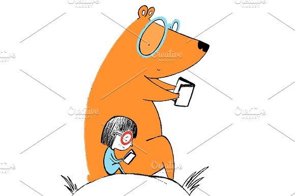 little girl and a bear reading books illustrations creative market