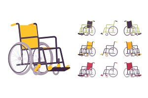 Wheelchair cartoon set