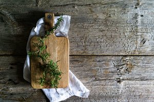 Rosemary on Cutting Board