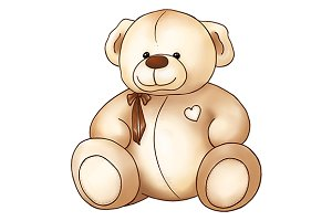 Cartoon lovely Teddy Bear toy Saint Valentine's day isolated