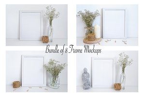 Bundle of 8 frame mockups