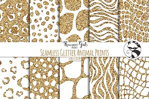 Seamless Glitter Animal Prints Gold