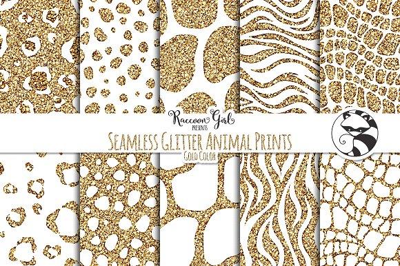 Seamless Glitter Animal Prints Gold