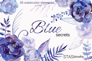 30 Watercolor Floral Elements