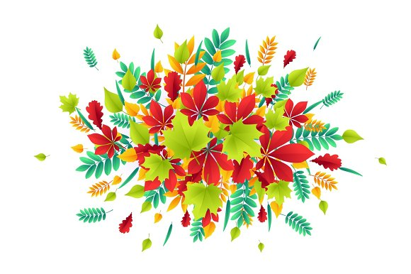 Vector illustration of fashionable autumn background with falling Autumn leaves in Textures