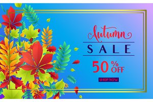 Vector illustration of fashionable autumn sale card template