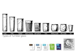 illustration of tumbler glass types