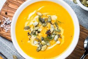 Pumpkin and carrot cream soup.