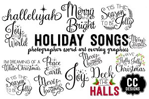 Christmas Holiday Song Word Graphics