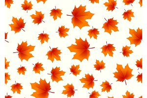 Vector illustration of autumn maple leaves seamless background