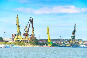 Industrial port on Danube river